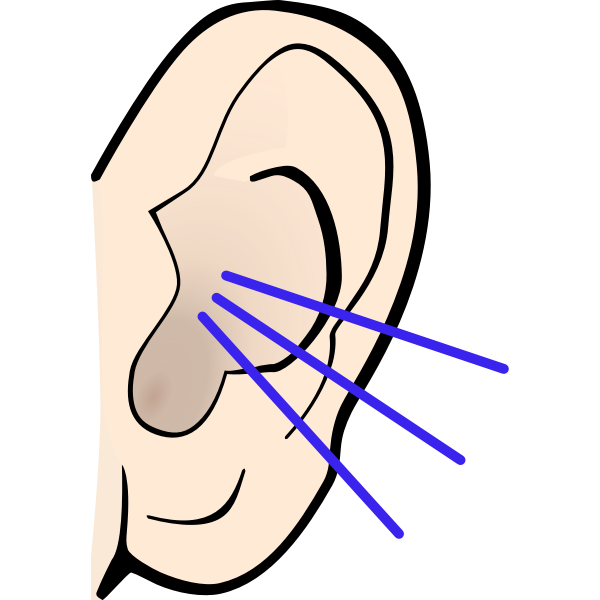 Vector image of color listening ear