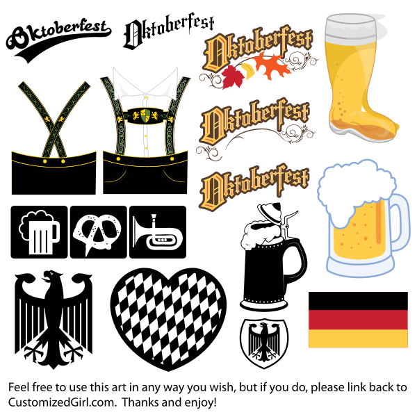 Oktoberfest icons, logos and illustrations vector clip art