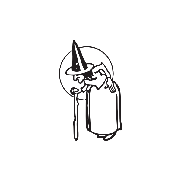 Very old witch with stick vector clip art