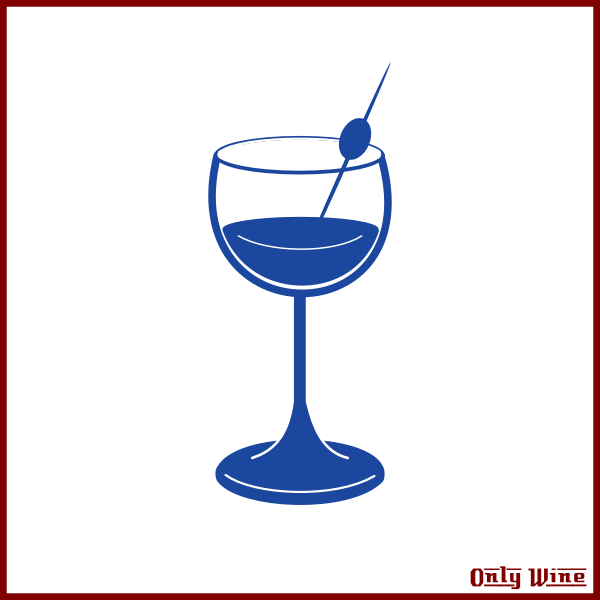 Wine label with blue glass