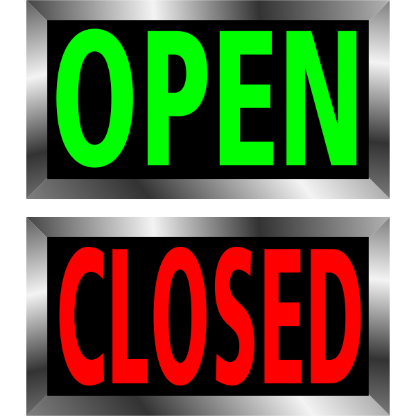 Open and closed metal frame signs vector image