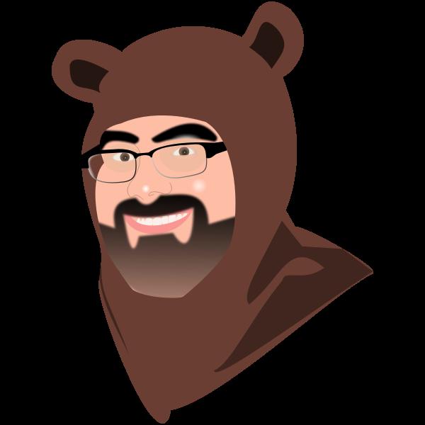Man in bear costume vector illustration