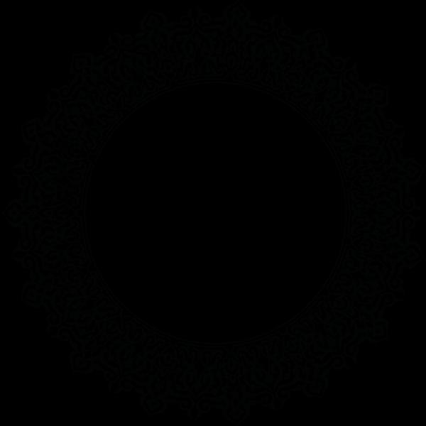 Ornamented round border frame vector clip art