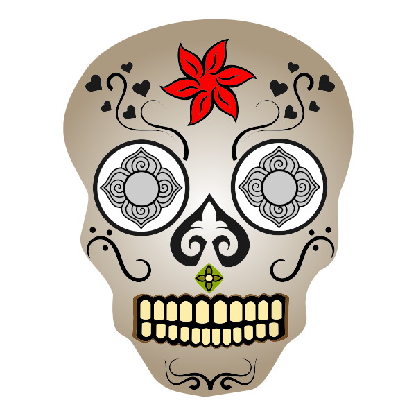 Comic skull with blue eyes vector image