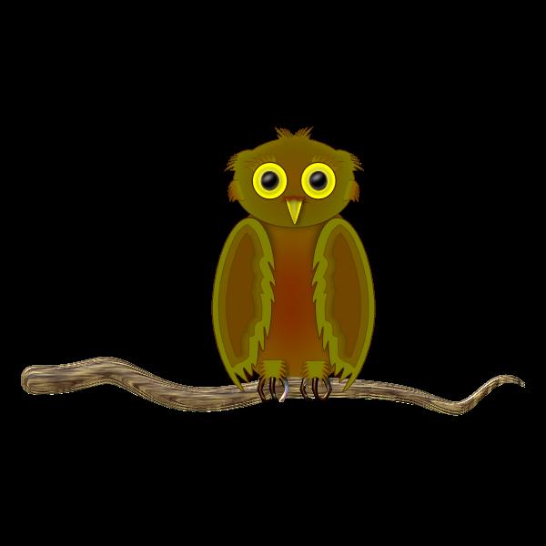 Owl on a branch cartoon image