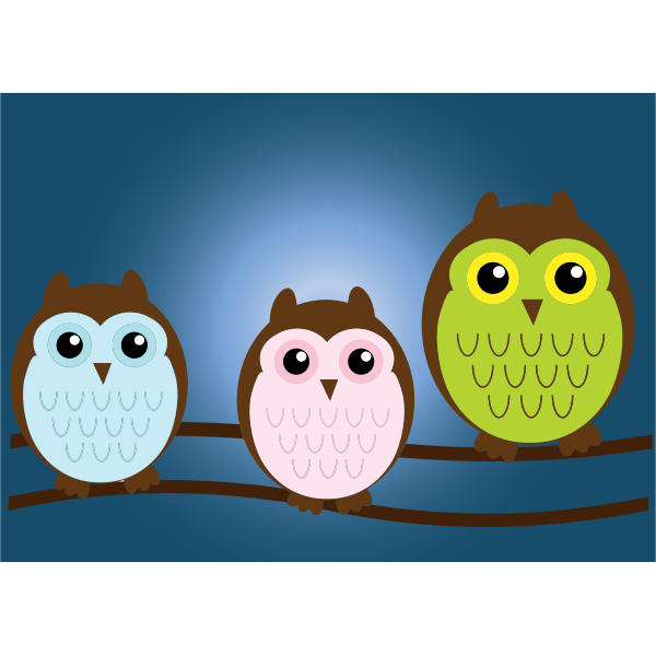 Color illustration of baby owls on a tree branch