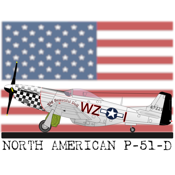 North American P-51-D plane vector clip art