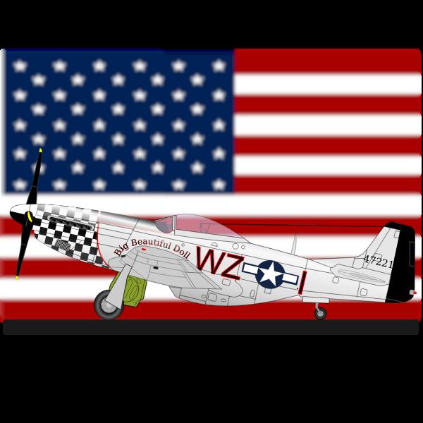 North American P-51-D plane vector clip art