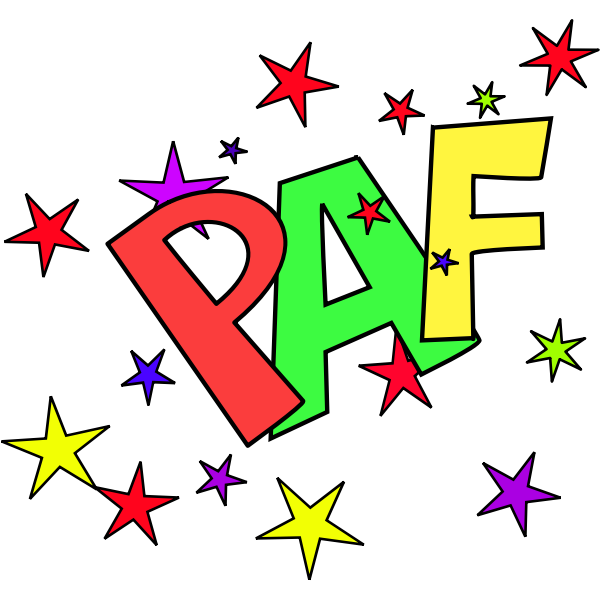 Vector clip art of paf sound representation with stars