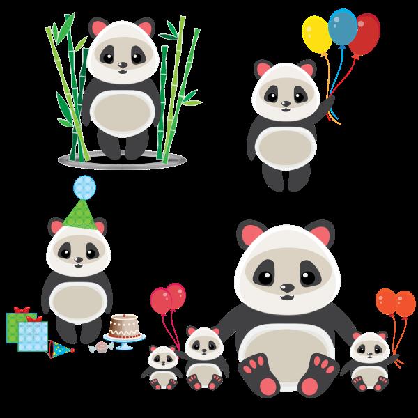 A group of cute pandas
