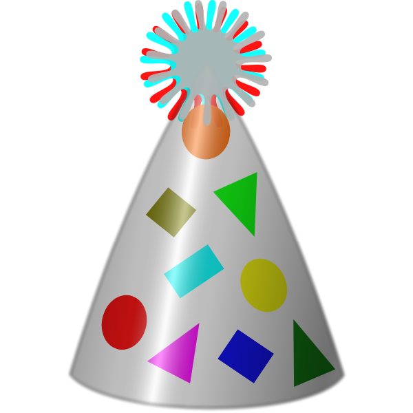Vector clip art of party hat silver plated