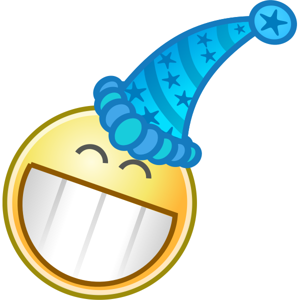 Vector clip art of smiley with party cap