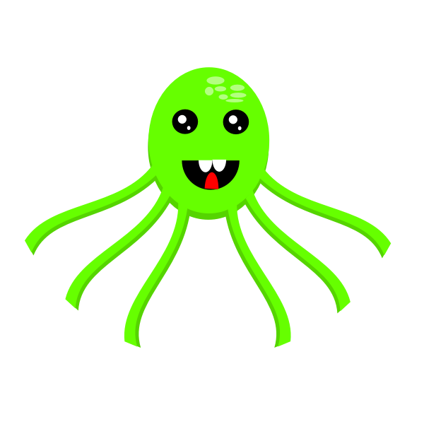 Vector illustration of green smiling octopus