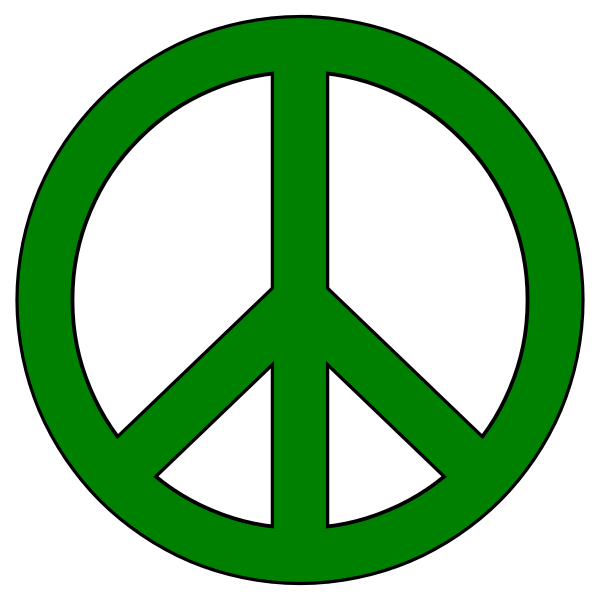 Vector graphics of green peace symbol with black border