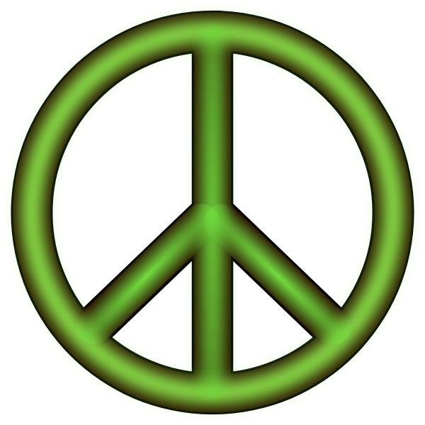 Vector drawing of green 3D peace symbol