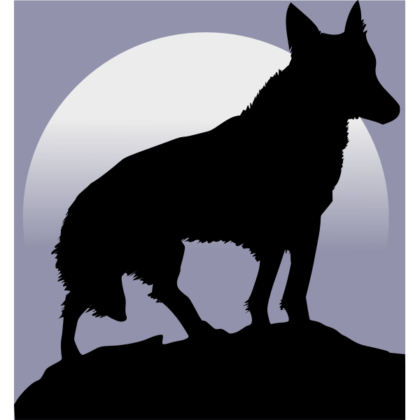 Wolf silhouette in front of moon vector image