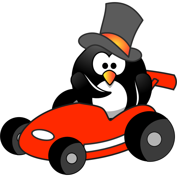 Penguin Top Hat in Red Kart Wants You