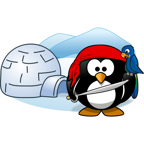 Vector image of pirate penguin in Antartica