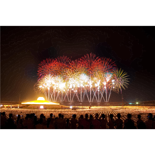 People Watch New Years Eve FIreworks Celebration