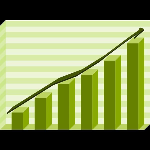 Performance graph green vector illustration