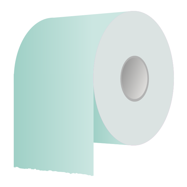 Toilet paper roll in green vector illustration
