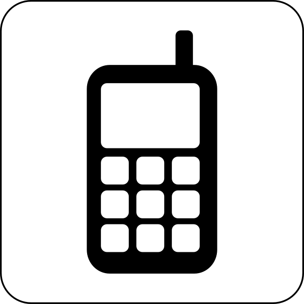 Vector graphics of black and white mobile phone icon