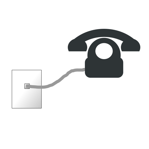 Phone and cable to wall plate vector image