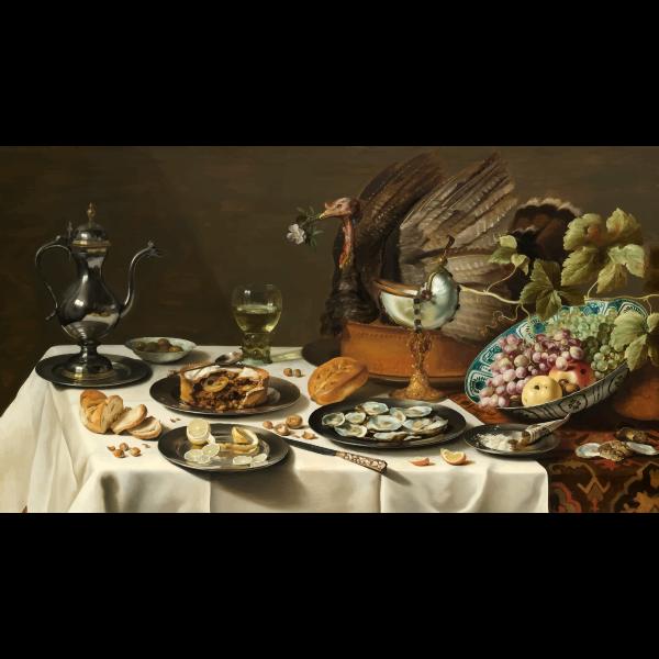 Pieter Claesz Still Life with a Turkey Pie