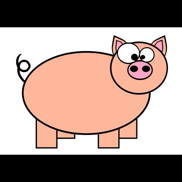 Orange pig with big eyes vector drawing