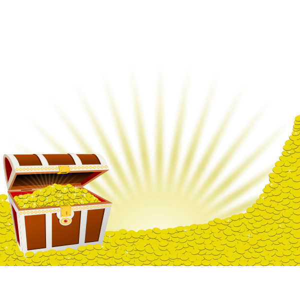 Overfilled treasure chest in color
