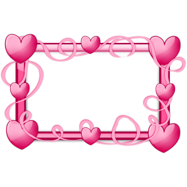 Pink hearts frame vector graphics