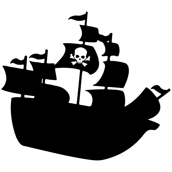 Silhouette of a large pirate ship