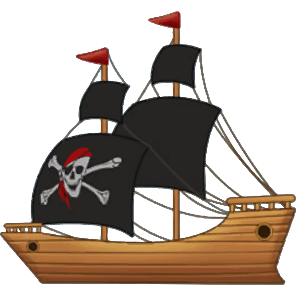Pirate wooden sailing ship