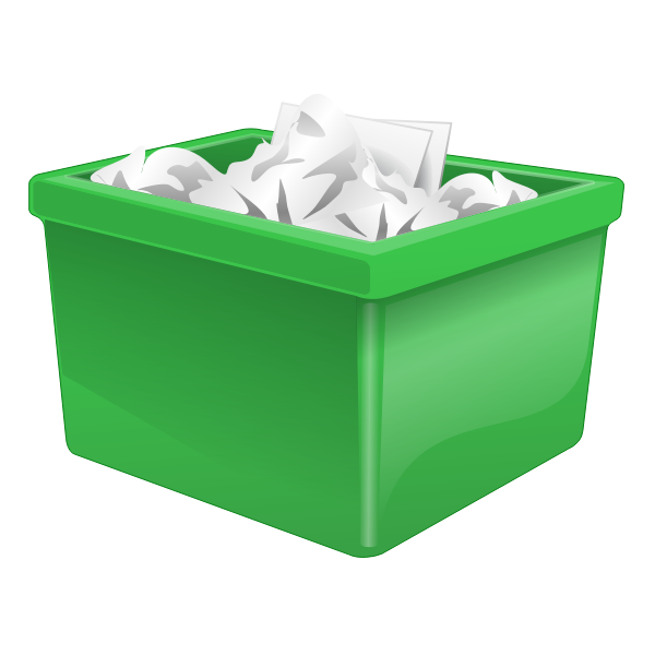 Green plastic box filled with paper vector clip  art