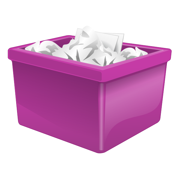 Purple plastic box filled with paper vector image