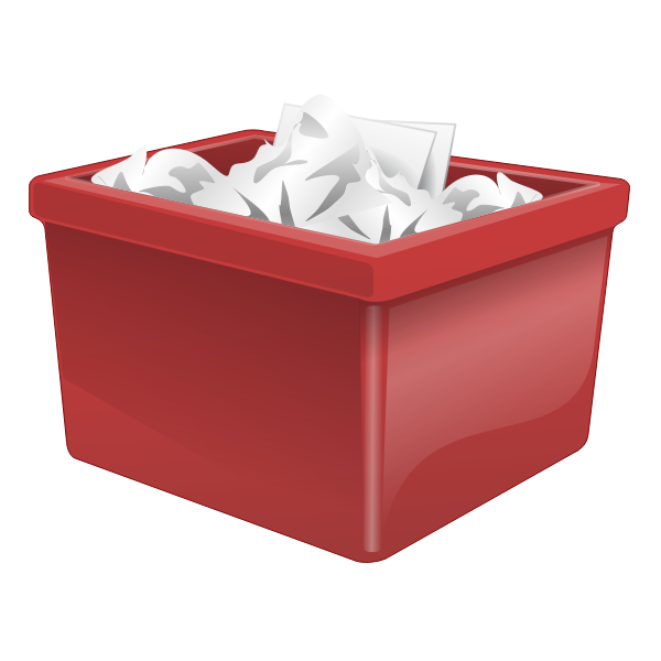 Red plastic box filled with paper vector clip art