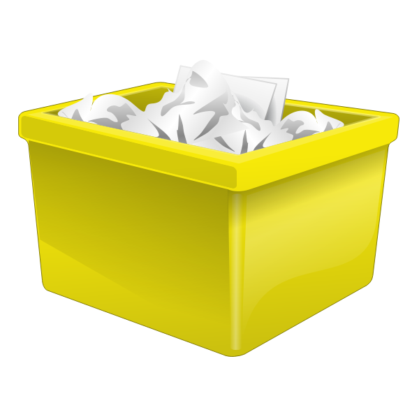 Yellow plastic box filled with paper vector graphics