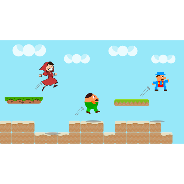 Vector image of jump and run video game scene in full color
