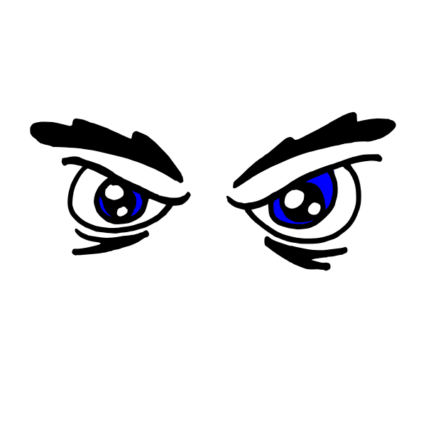 Angry woman's eyes vector drawing