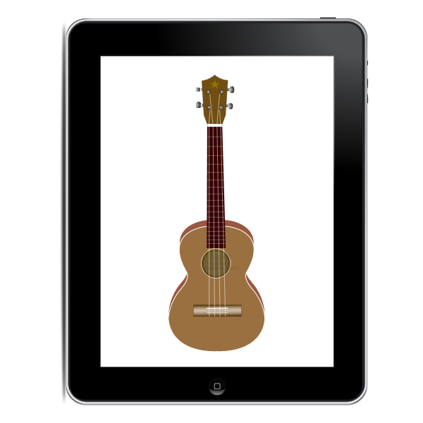 Tablet computer with guitar on it vector clip art