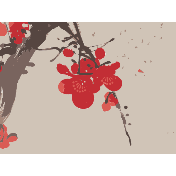 Background with plum blossom vector clip art