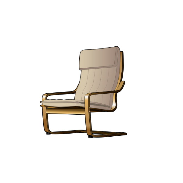 Front view of desk chair vector drawing