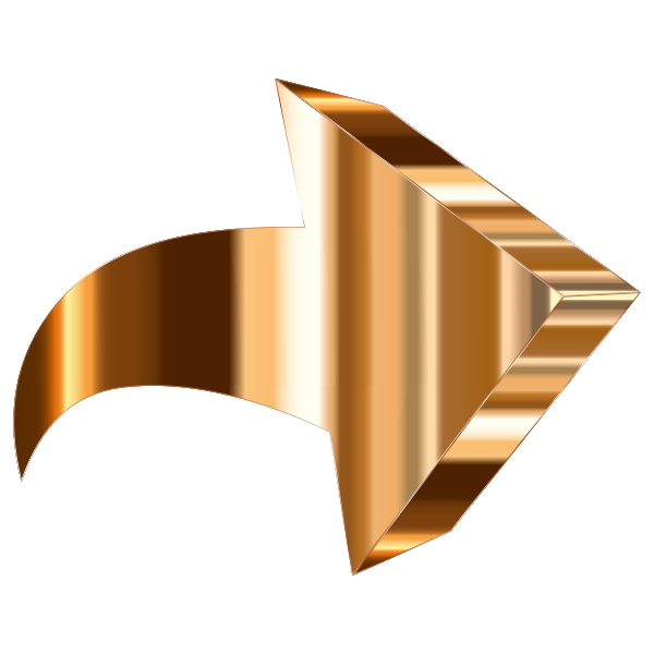 Polished Copper 3D Arrow