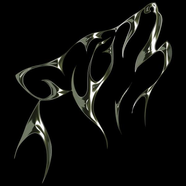 Polished Obsidian Tribal Wolf No Background
