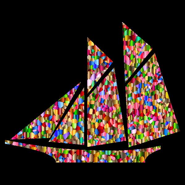 Polychromatic Tiled Sailboat