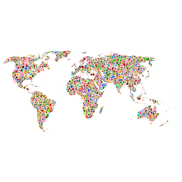 Polychromatic Tiled World Map No Background