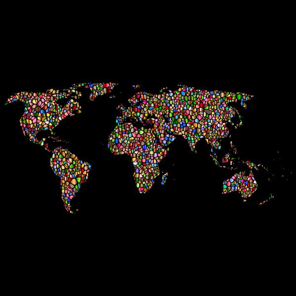 Polychromatic Tiled World Map