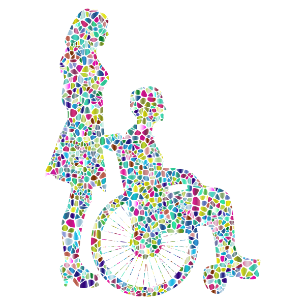 Polyprismatic Tiled Woman Pushing Man In Wheelchair Silhouette