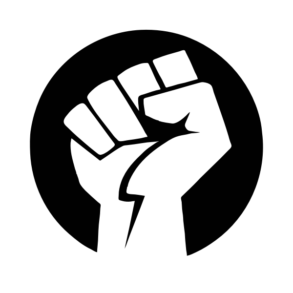 Power fist in black and white
