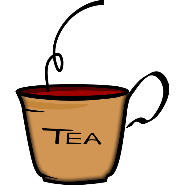 Vector illustration of bent handle cup of tea